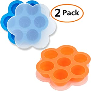 GOKCEN's Silicone Egg Bites Molds For Instant Pot Accessories - Fit Instant Pot 5,6,8 qt Pressure Cooker - Baby Food Freezer Tray with Lid - Reusable Storage Container - 2 Pack (Blue & Orange)