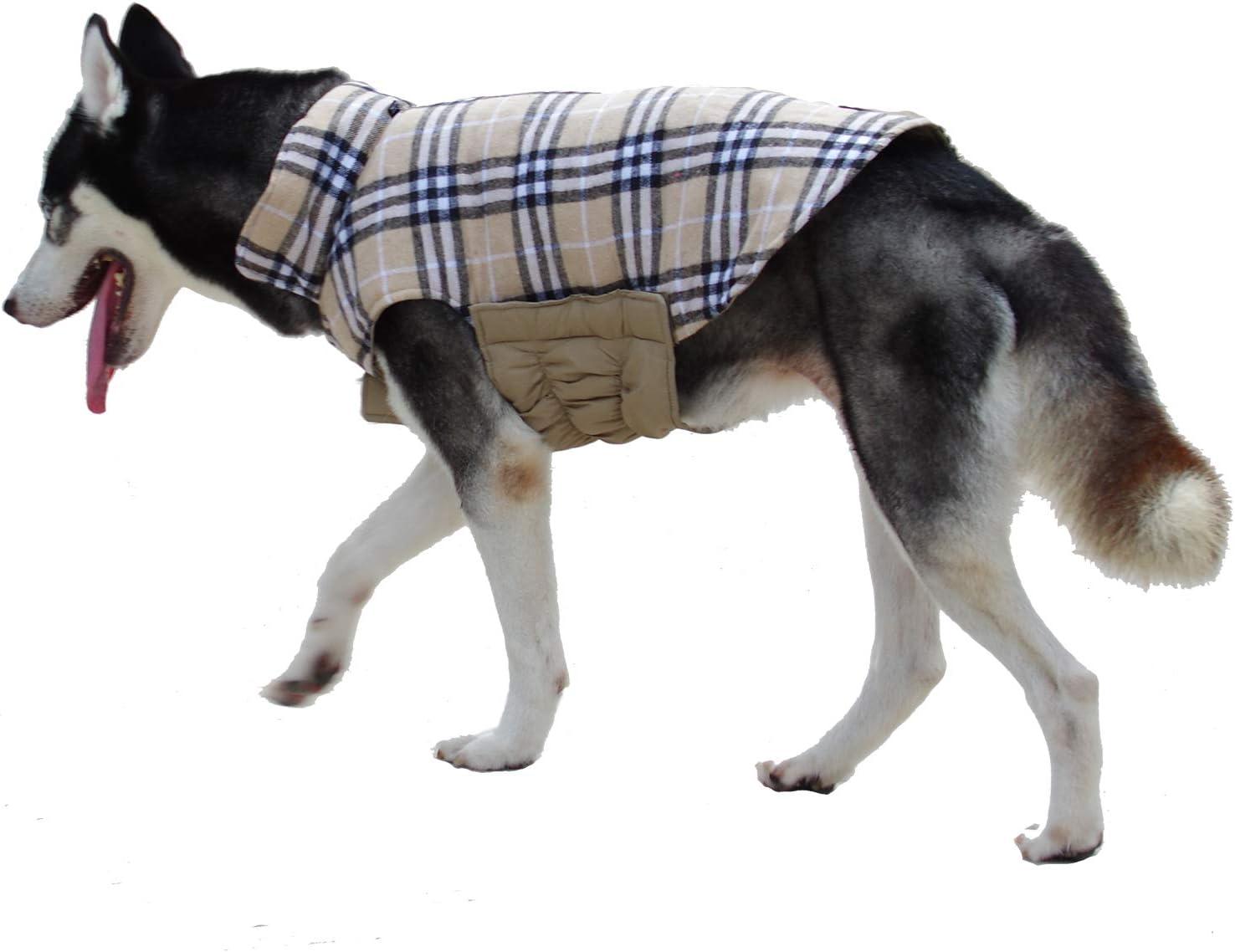 Thick Padded Comfortable Winter Dog Jacket Reflective Safey Dog Vest L Red ThinkPet Warm Reversible Dog Coat