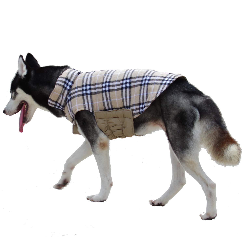 Beige XL (Neck  46cm, Chest  62-72cm, Length  43cm) Beige XL (Neck  46cm, Chest  62-72cm, Length  43cm) (XL(Neck  46cm , Chest  60cm 70cm , Length  43cm ), Beige) ThinkPet British Style Reversible Plaid Winter Coat Waterproof Dog Jacket
