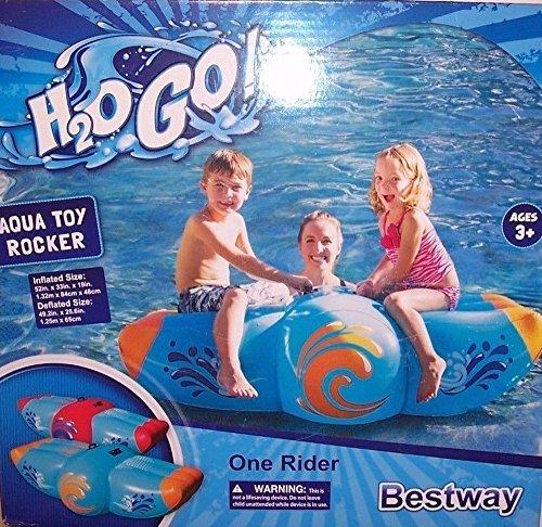 Bestway HO2GO Orange/ Blue Aqua Rocker Kids Inflatable 2 Person Swimming Pool Float