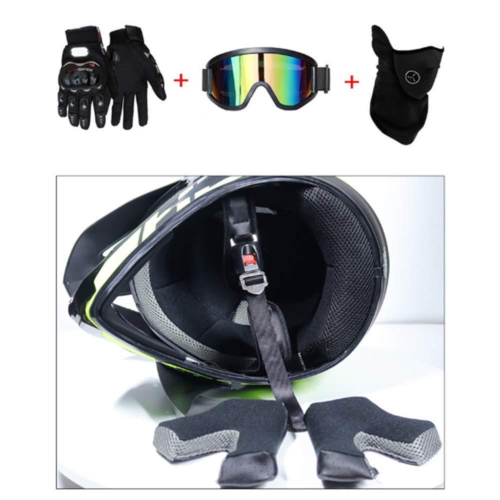 Adult Motorcycle Off-road DOT Helmet Motocross Head Guard+Goggles+Gloves S-L WCV