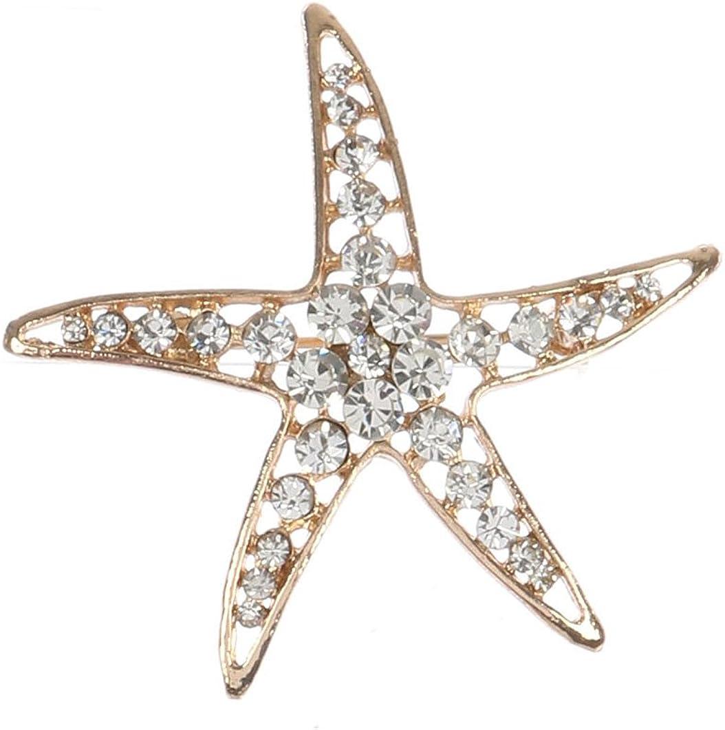 Mayas Grace Cutout Starfish Metal Pave Crystal Stone Pin and Brooch Gold