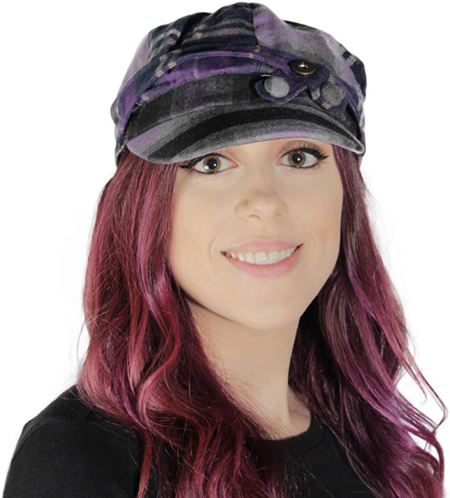 Purple Plaid Newsboy Cap