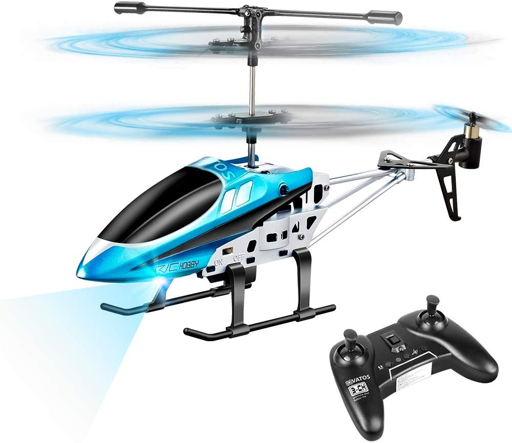 VATOS RC Helicopters, Remote Control Helicopter with Gyro and LED Light 3 Channel Alloy Mini Helicopter Remote Control for Kids & Adult Indoor Micro RC Helicopter Best Helicopter Toy Gift