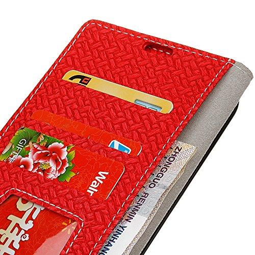 YHUISEN ZTE Axon 7 caso, patrón de tejido de cierre magnético Cartera de cuero de la PU Flip Folio cubierta protectora de la caja para ZTE Axon 7 ( Color : Purple ) Red