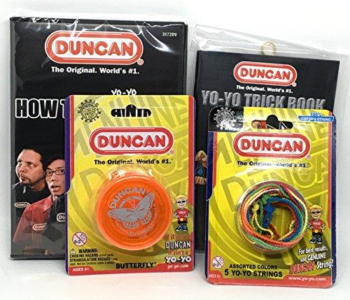 Duncan Beginner YoYo Kit (4 Items) - Orange Butterfly Yo-Yo, Multi-Color Yo-Yo String 5 Pack, Yo-Yo Trick Book, and How to Be A Yo-Yo Ninja DVD