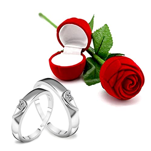 Peora Valentine S Day Gift Hamper Of Couple Ring With Red Rose Gift