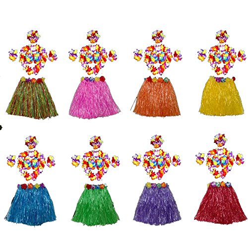 HLJgift Kid's Flowered Luau Hula Skirts With Costume Set Pack of 8,Assorted Colors