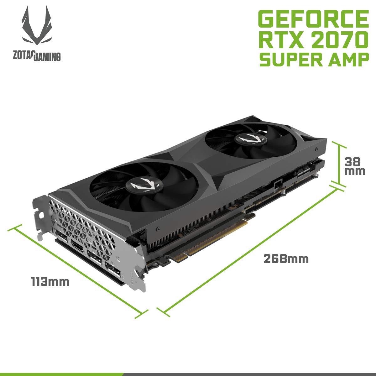 VGA ZOTAC RTX 2070 Super AMP,NV,RTX2070,GDDR6,8GB,256BIT,HDMI+3DP,2 Ventiladores -ICESTORM 2.0 Cooling- (ZT-T20710D-10P)