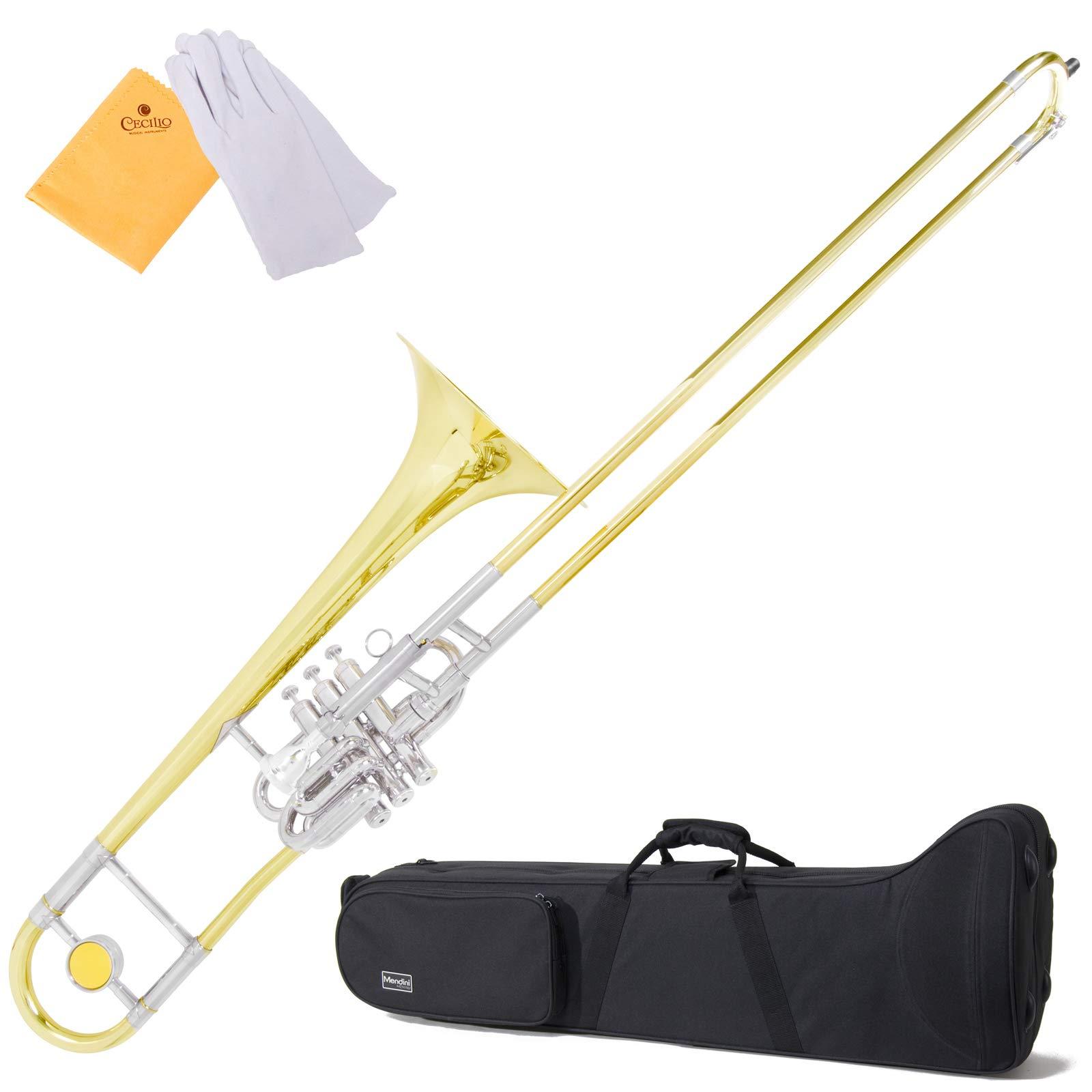 Mendini MTB-43 Intermediate B Flat Tenor Valve/Slide Combo Trombone with Monel Valves aka''Super-Bone'' by Mendini by Cecilio
