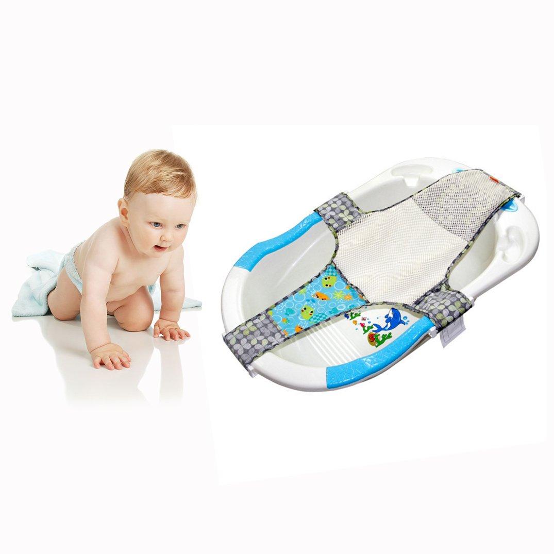 Itian Baño Red Seguridad Seguridad Asiento Infantil - Apoyo del Baño del Bebé de Seguridad del Asiento Ajustable del Baño de Asiento de Baño (Azul)
