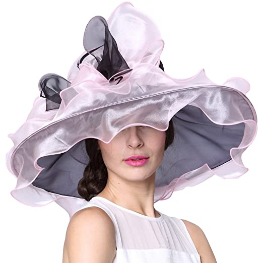 b0311a85b5def June s Young Kentucky Derby Hats Women Hats Floppy Black at Amazon Women s  Clothing store