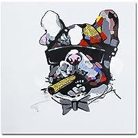Fokenzary dipinta a mano pittura Bulldog fumo sigaro su tela pop art decorazione della parete incorniciato pronto da appendere