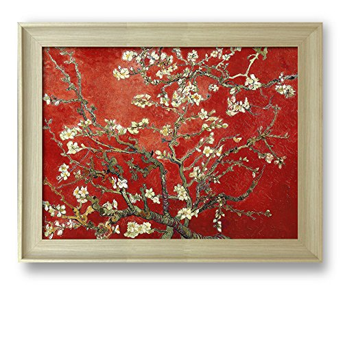Framed Art Almond Blossoms by Vincent Van Gogh Interpretation in Red Famous Painting Wall Decor Natural Wood Finish Frame
