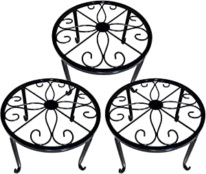 Indoor Plant Stand - Plant Stands Outdoor Metal 3 Pack Durable Round Flower Pot Rustproof Iron Rack Perfect for Home, Garden, Patio(9 Inches, Black)