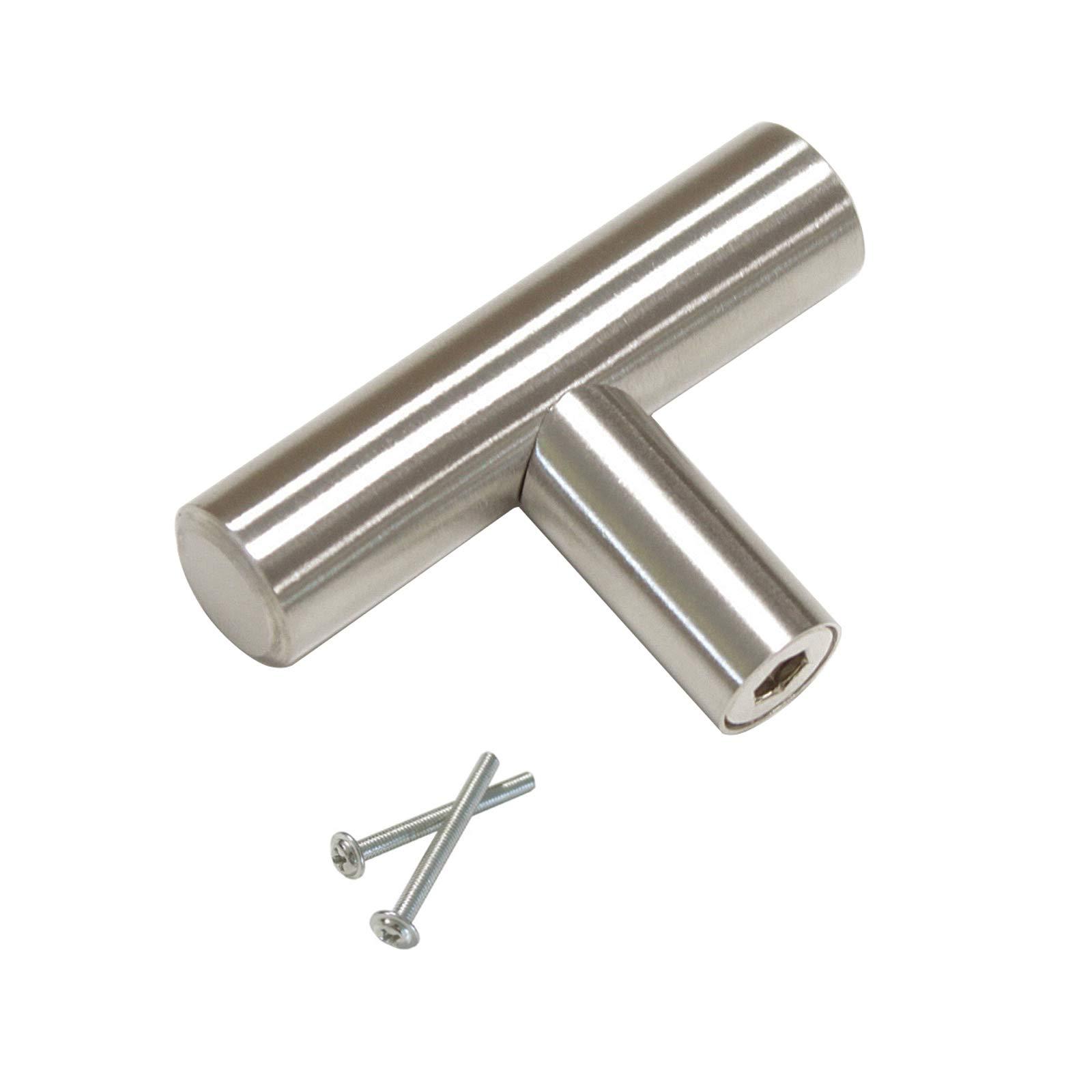 Tiradores de armario de acero inoxidable y níquel cepillado. Diseño en T para puertas de