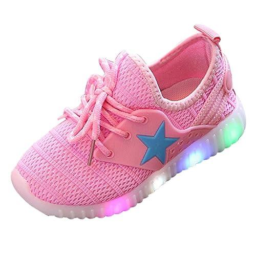 QinMM Kleinkind Baby Mode Turnschuhe Sterne Leucht Kind Casual Bunte Licht Schuhe Mesh Sommer Sportschuhe Schwarz Blau Rosa 21 35
