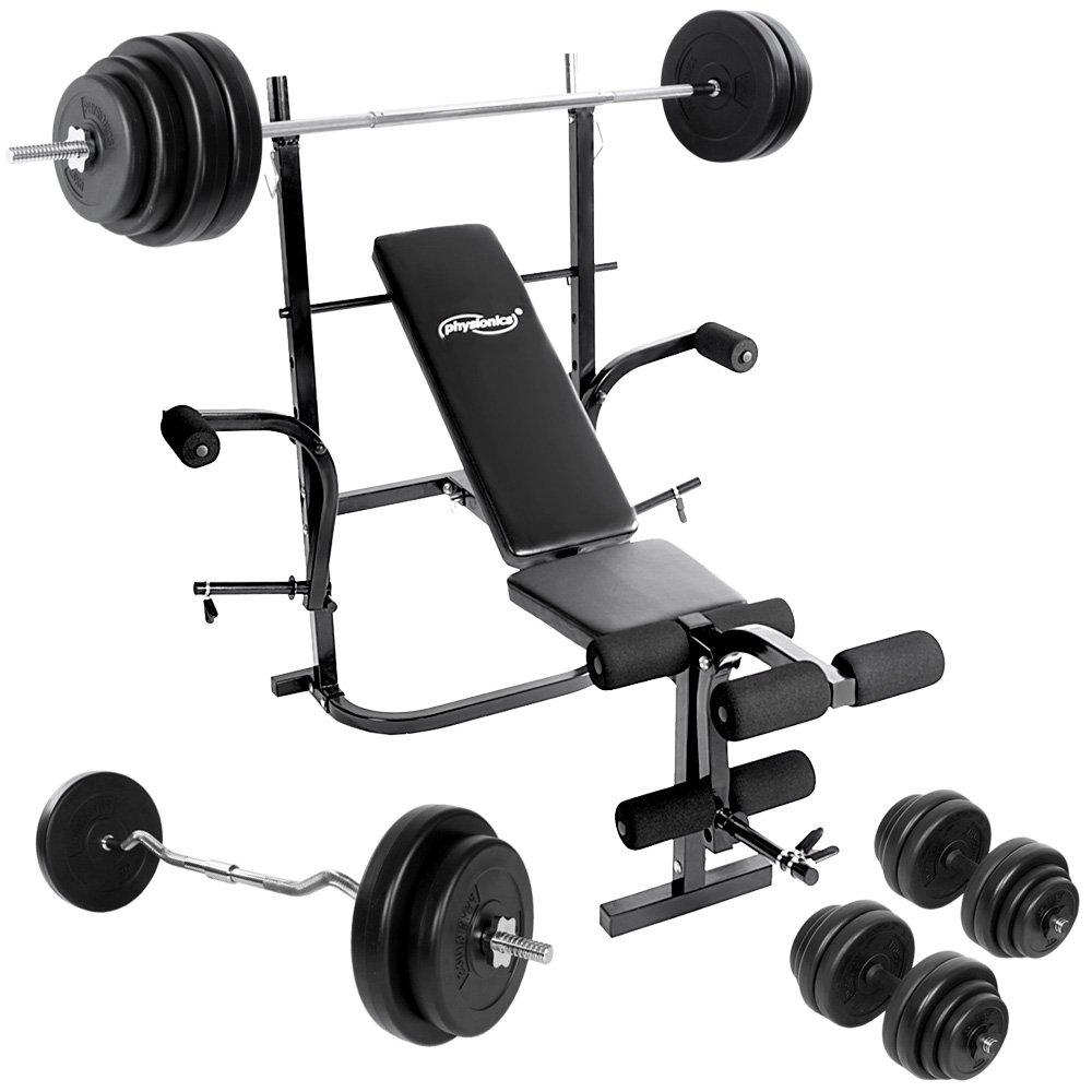 Physionics - Multifuncional Banco de ejercicio (pesas + 2 mancuernas + barra curvada), ajustable, el gimnasio en casa - color negro: Amazon.es: Deportes y ...