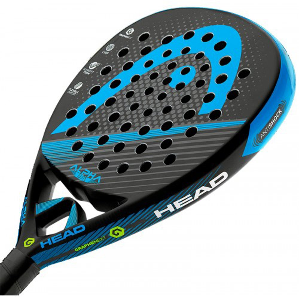 Head Alpha Elite - Pala de pádel, Color Negro/Royal, Talla 38 mm