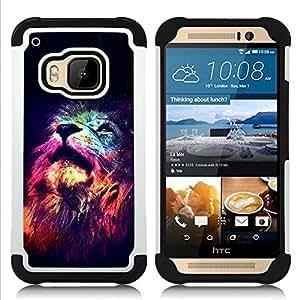 """HTC One M9 /M9s / One Hima - 3 en 1 impreso colorido de Altas Prestaciones PC Funda chaqueta Negro cubierta gel silicona suave (Universo Estrellas África Rey Animal"""")"""
