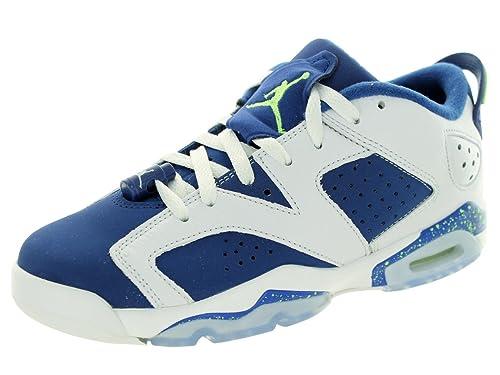 the best attitude b21b4 5a1e5 Jordan Nike Boys Air 6 Retro Low BG Seahawks White Ghost Green-Insignia Blue