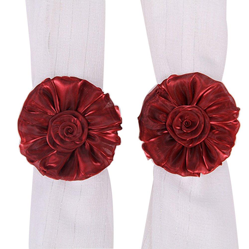 Cute Flower Shape Tie Backs Window Curtains Holder Clamp For Nursery Bedroom Girls Room-Roseo (Pink) VERYCO
