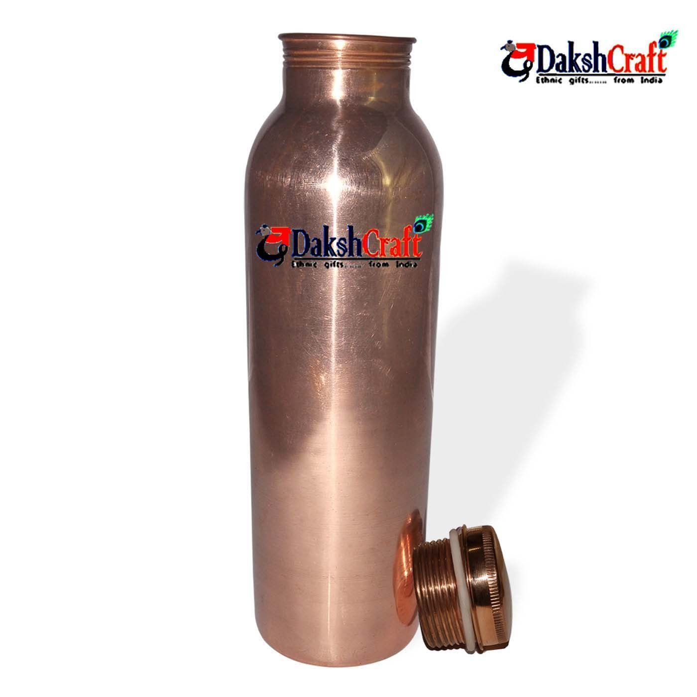 DakshCraft Pure Copper Joint Free Plain Bottle - 1000 ml / 33.81 oz pr pcs with Rubber Washer - A Leak Proof Ayurvedic Pure Copper Bottle