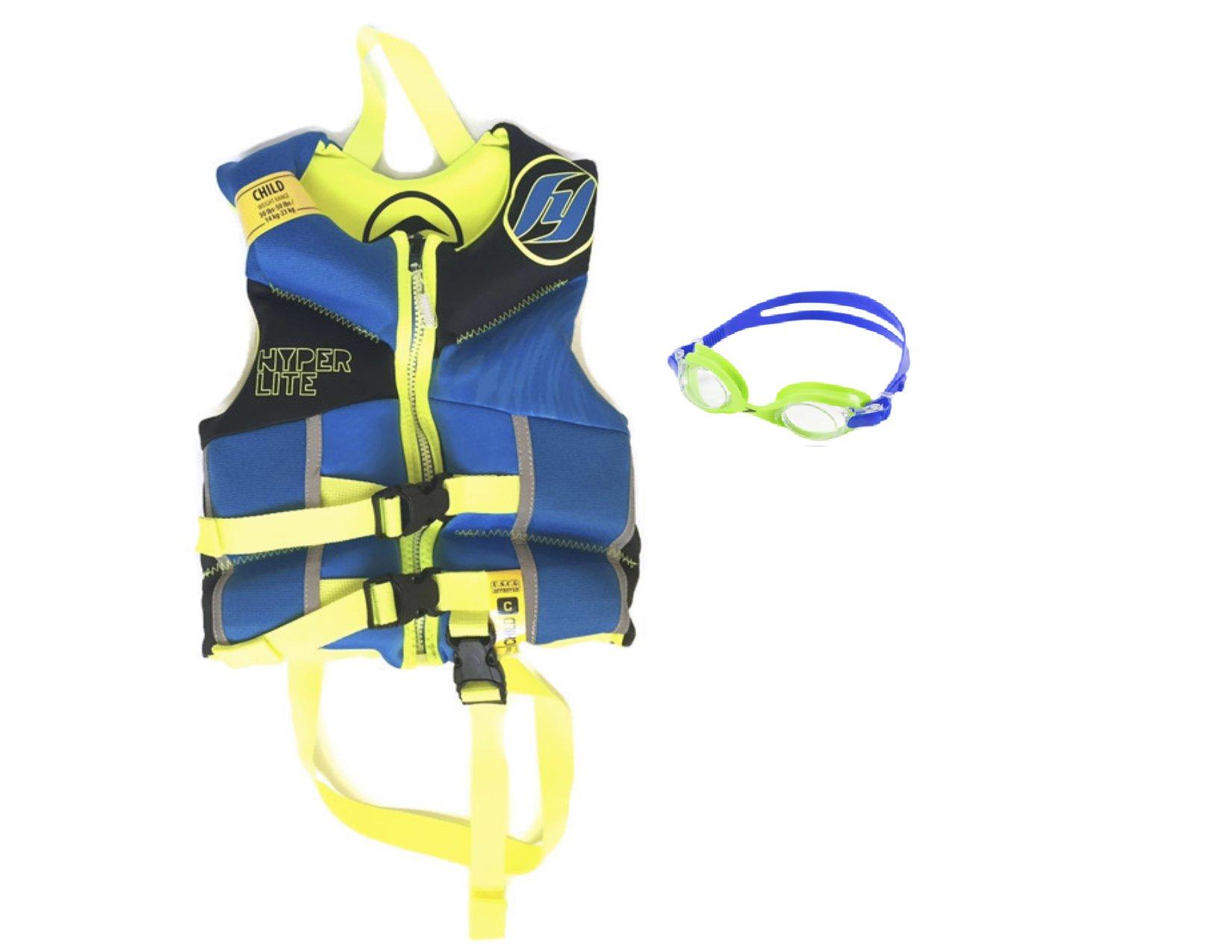 2016 Hyperlite Boys Boyz Kids Yellow Blue Child Life Vest Jacket Wakeboarding Fishing Boating Swimming- 30-45lbs + Bonus Speedo Goggles