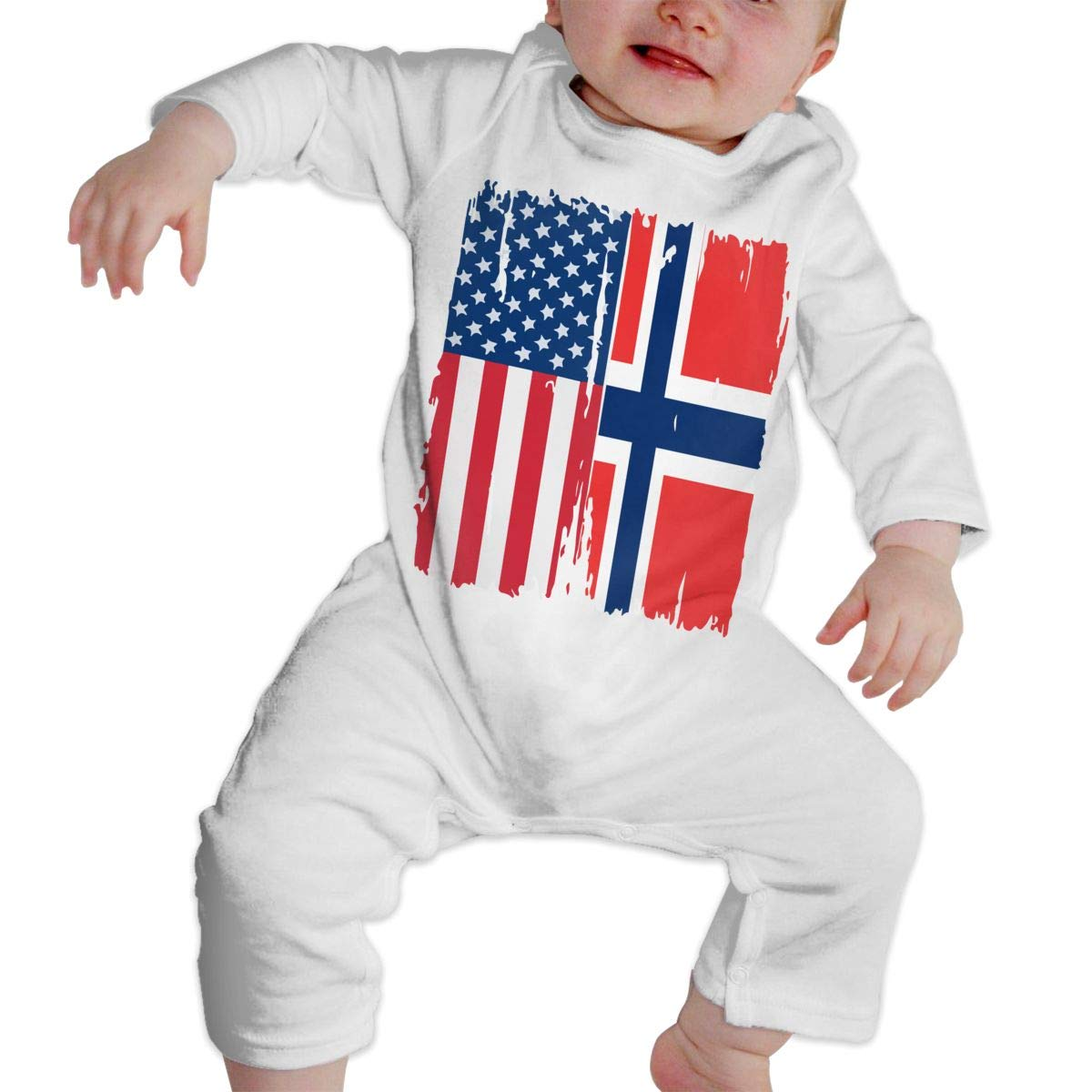 A1BY-5US Infant Babys Cotton Long Sleeve American Norway Flag Climb Jumpsuit Funny Printed Romper Clothes