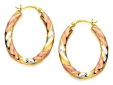 2962c4284f0ec F.Hinds 9ct Three Colour Gold Ribbed Hoop Earrings 24mm Charm ...