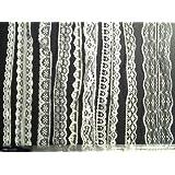 CraftbuddyUS 20m of Asstd White Vintage Lace Bridal Wedding Trim Ribbon, Craft, Card Making