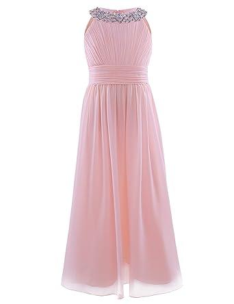 42022a8af FREEFLY Age 7-14 Girls Lace Long Dress Chiffon Sleeveless Wedding ...
