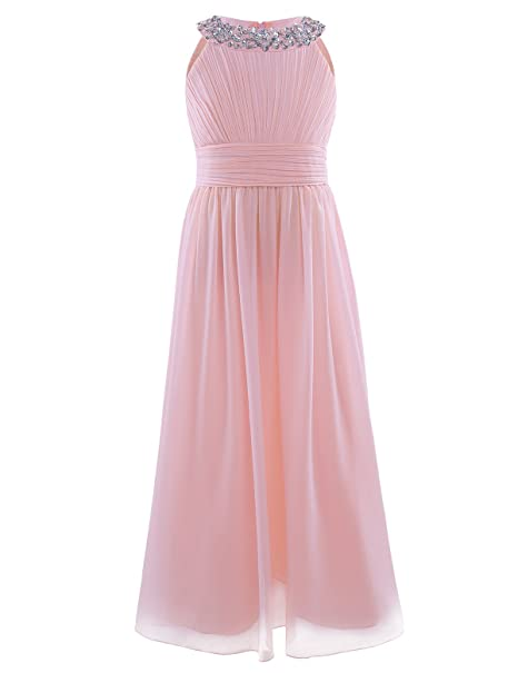 15480c5d8e8b Freebily Girls Kids Beaded Halter-Neck Chiffon Bridesmaid Dress Wedding  Party Ball Prom Long Evening Gowns  Amazon.co.uk  Clothing