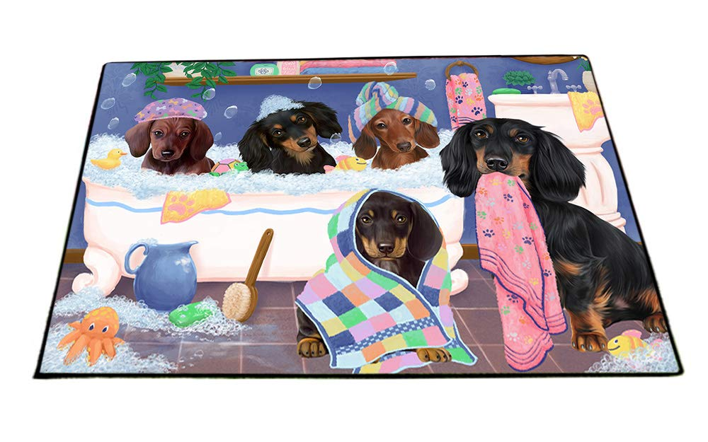 Rub A Dub Dogs In A Tub Dachshunds Dog Floormat FLMS53538 (24x36) by Doggie of the Day