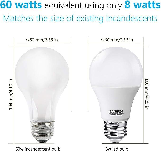 A19 Led Light Bulbs 60 Watt Equivalent Sansun 3000k Soft White Non Dimmable 6 Pack