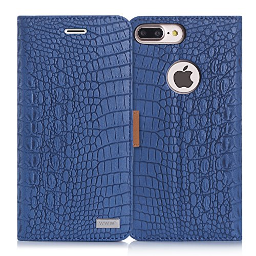 iPhone 8 Plus Case,iPhone 7 Plus Case, WWW [Crocodile Pattern] RFID-Resisting Premium PU Leather Wallet Case Flip Phone Case Cover with Card Slots for iPhone 7 Plus/8 Plus Navy Blue