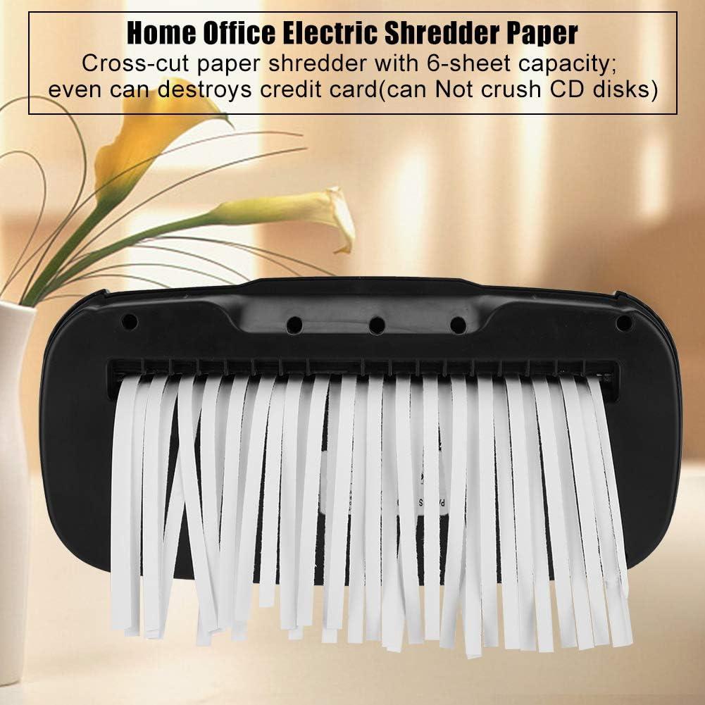 6-Sheet Electric Credit Card Shredder High-Security Shredder with 10L Wastebasket for Home Office Use Black Paper Shredder