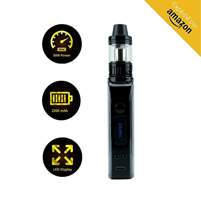 VAPEO Aura 50 TC - Cigarro Electrónico de Excelente Calidad - Set Completo de Vapeadores Novatos y Avanzados - Batería de Larga Duración de 2200 mAh ...