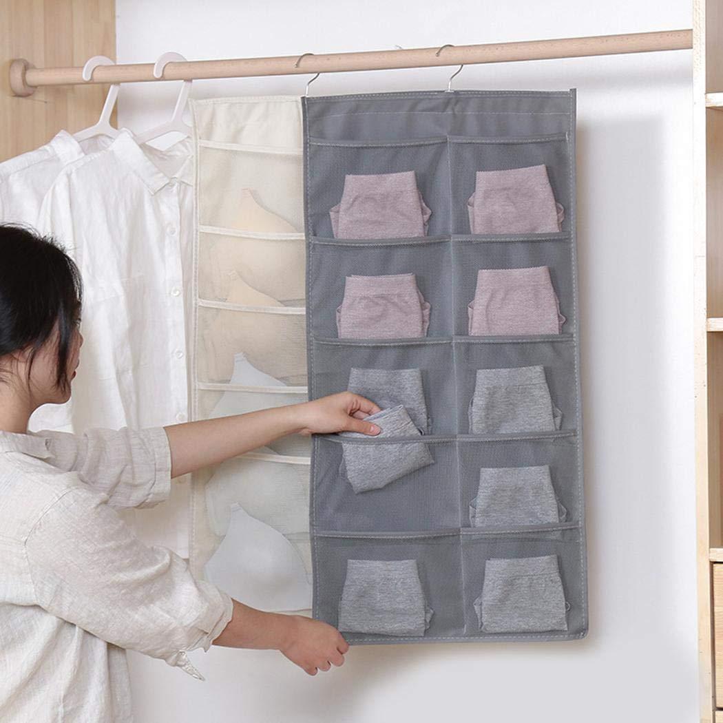 onisjun Doppelseitige Unterw/äsche Socken Schlafzimmer Wandt/ür Hinten H/ängende Aufbewahrungstasche Schrankordnungssysteme