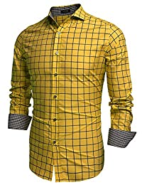 COOFANDY Men's Fashion Long Sleeve Plaid Button Down Casual Shirts Blue