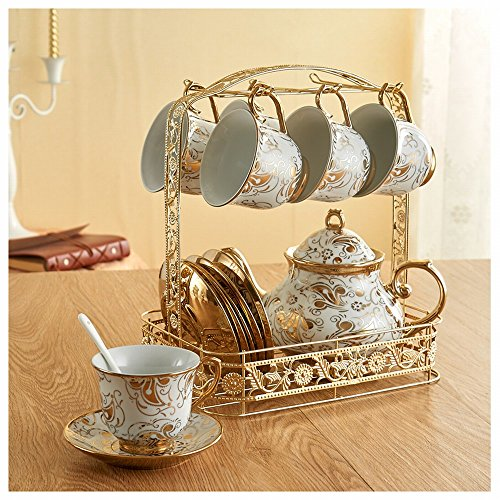 DHG Coffee Cup Sets Full European Bone Porcelain Cup Saucer Tea Set Cup Household Mug Water Cup,A by DHG (Image #1)