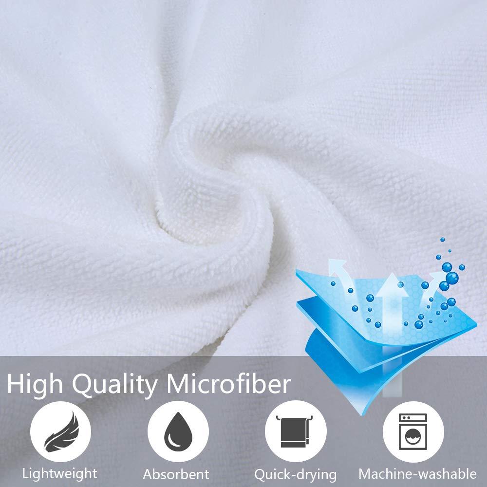 Paquete de 2 40cm x 80 cm Toalla Microfibra Super Absorbente VIVOTE Ultra Suave Toalla Gimnasio Blanco