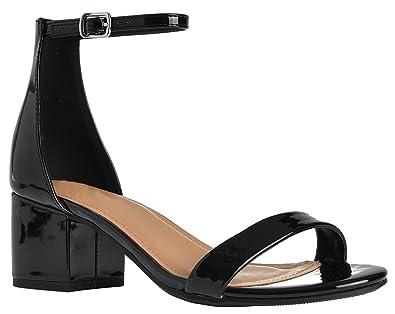 3c2320d6d64d Ankle Strap Kitten Heel Adorable Low Block Covered Heel Sandals Black  Patent 8.5