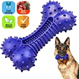 Dog Bones Toys for Aggressive Chewers Dog Toothbrush Chew Toy Molar Puppy Teething Toys, Durable Natural Rubber Teeth…