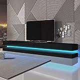 Aviator Double - TV Lowboard / TV Schrank / Hängeboard (280 cm, Schwarz mit Hochglanzfronten, mit LEDs,)
