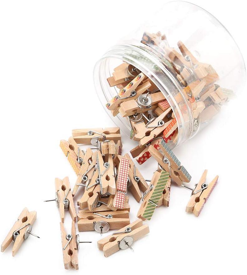 oficinas y hogares Clips de alfiler de 50 piezas con clips de madera Chinchetas Tachuelas Chinchetas para tableros de corcho Obras de arte Notas Fotos