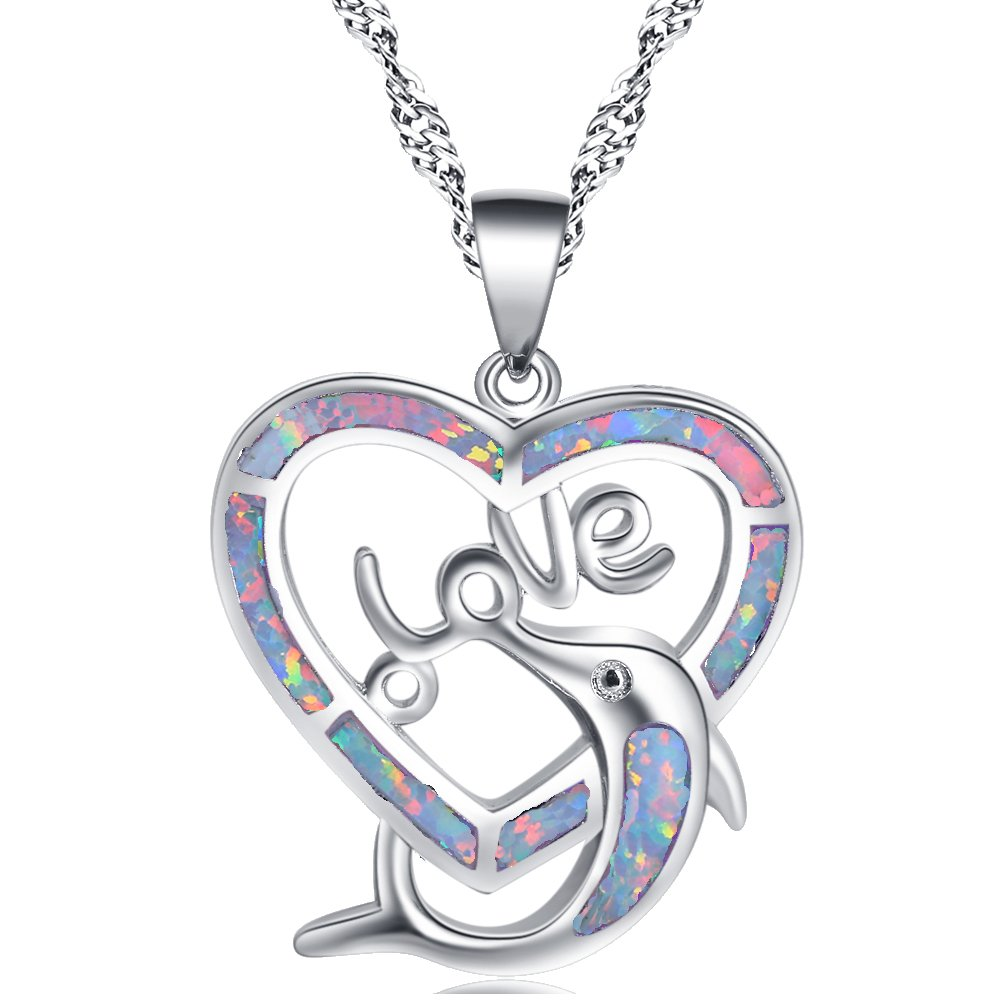 Cœur dauphins Design Cadeau de fête pour femme Blanc opale de feu Collier Argent Pendentifs Op782 TAOLIHAO