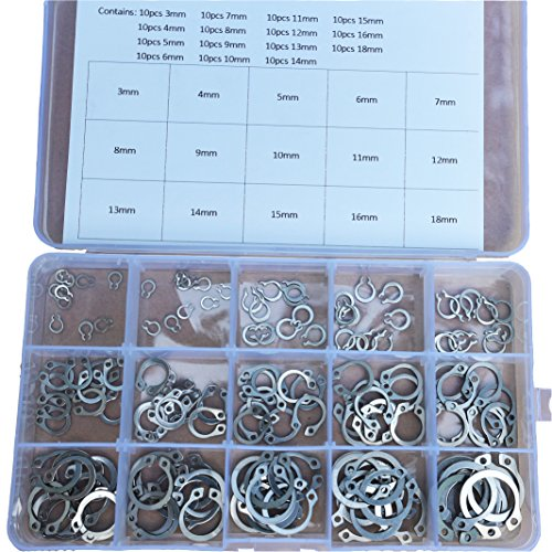 150Pcs 15 Kinds Stainless Steel External Circlip Retaining Ring Snap Ring Kit