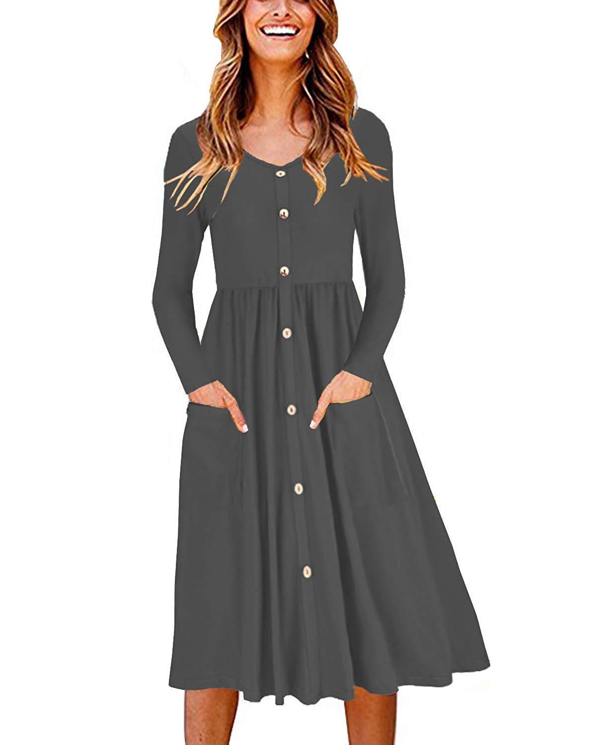 LAMISSCHE Womens Summer Casual Short Sleeve V Neck Button Down A-line Dress with Pockets(Dark Grey-Long Sleeve,S) by LAMISSCHE