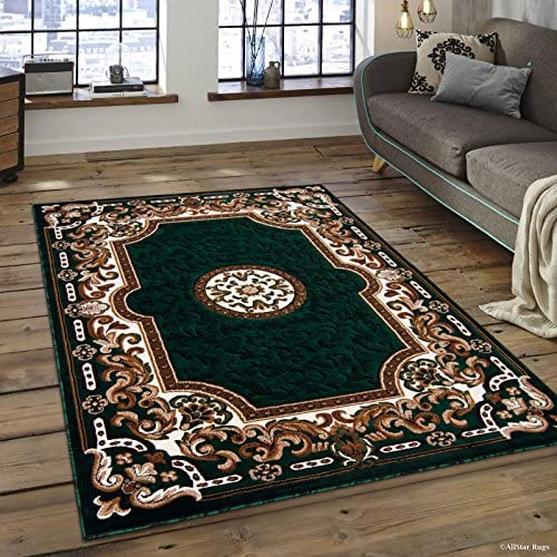 Allstar 8×10 Hunter Green and Ivory Classic Floral French Country Machine Carved Effect Rectangular Accent Rug with Mocha and Espresso Bordered Medallion Design 7 9 x 10 1